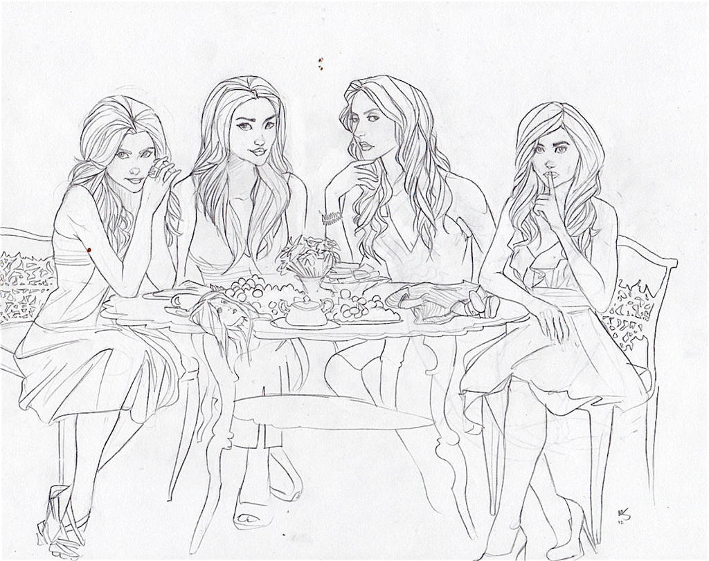 pretty little liars coloring pages cartooned pretty little liars by mooknar on deviantart
