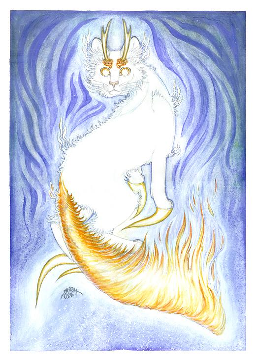 Elemental Spirit: Fire Cat by windinmysails
