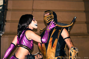 Mileena VS Scorpion by EddieMW