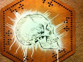 skull on marble board
