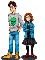 Mulder and Scully College AU by LeYouko