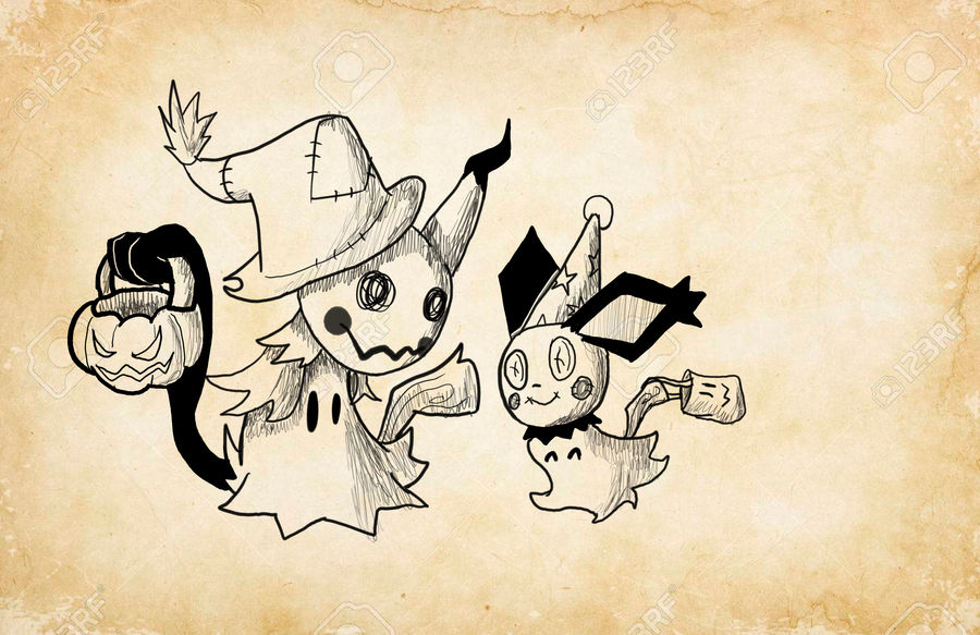 Ink/draw-tober Day 4: Mimichu's Halloween by TheHackingRotom
