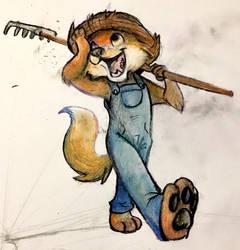farmer fox doodle