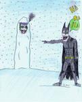 joker and batman snow fight by lovethejoker