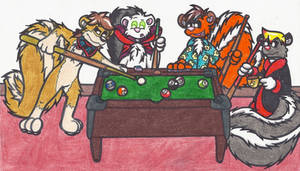 Skunks Playing Pool