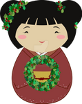 Kokeshi Christmas Wreath