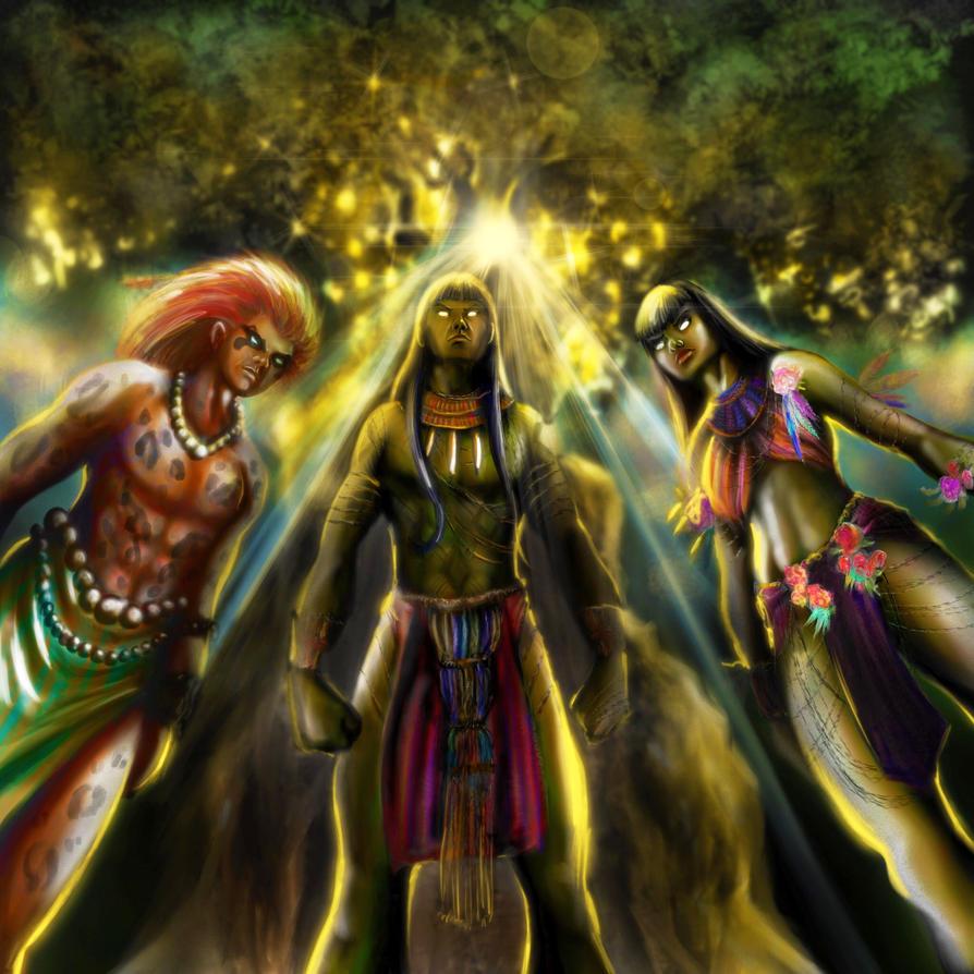 As Ibyranas - Characters Acaua, Caorani and Porani by Akhilla