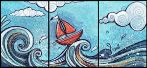 ACEO triptich sailboat