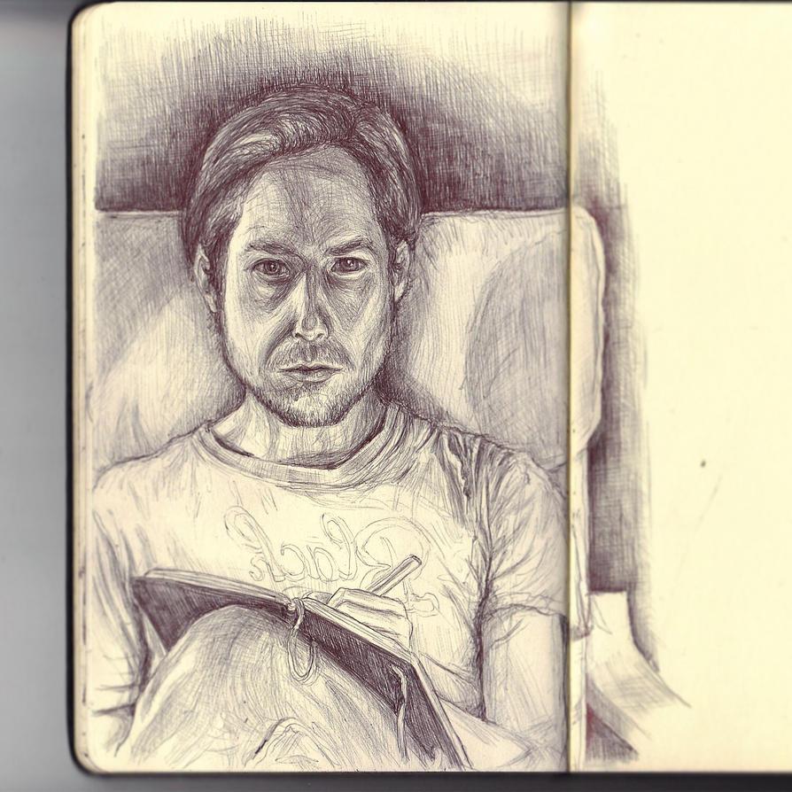 Sketchbook - selfie practice  by keiross