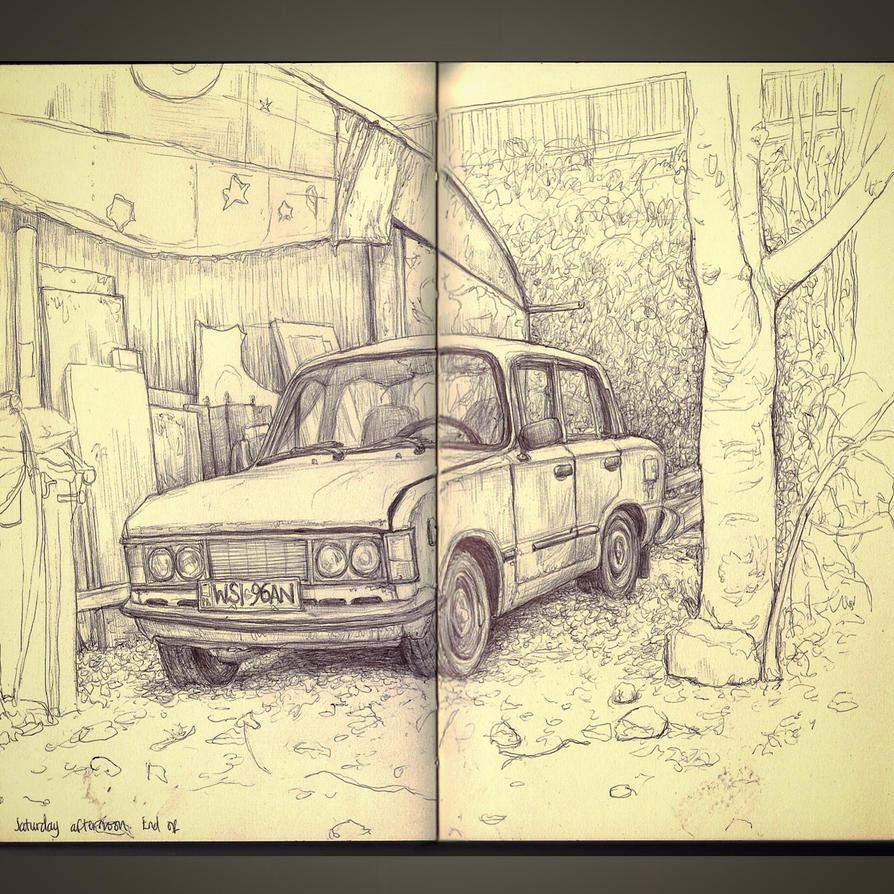 Sketchbook - old battered car  by keiross