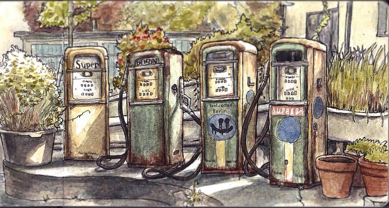 Sketchbook - Old petrol pumps by keiross