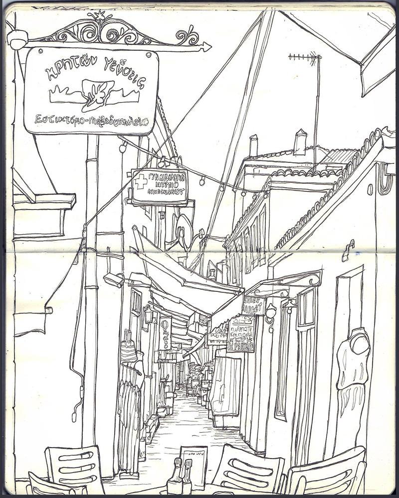 Sketchbook - Aegina Town by keiross