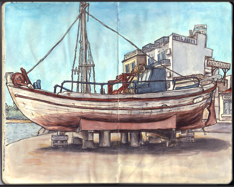Sketchbook - Boat in Aegina by keiross