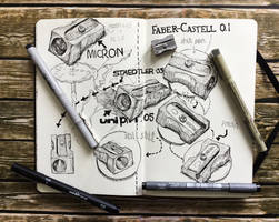 sketchbook - pencil sharpeners and pen test by keiross
