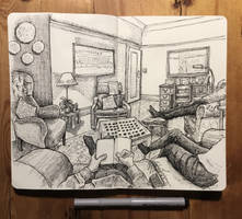 sketchbook - watching christmas tv with the olds