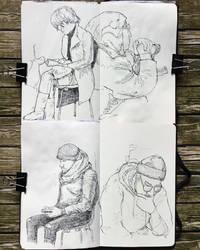 sketchbook - people waiting for stuff