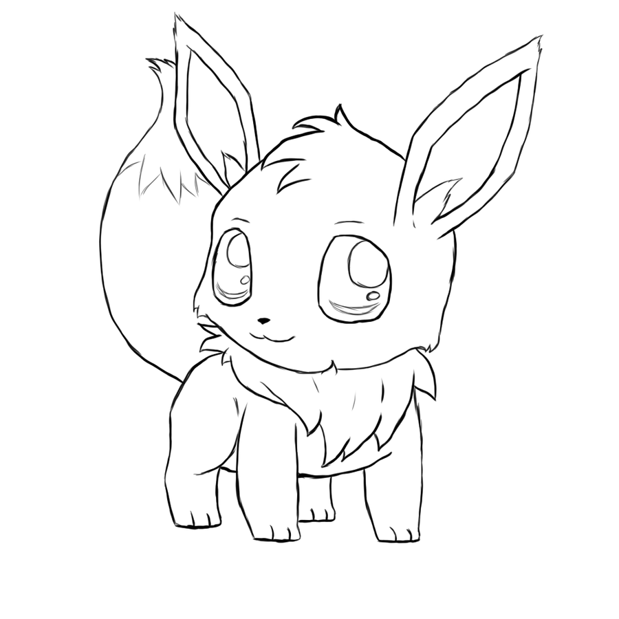 cute pokemon coloring pages | Eevee Chibi -lines- by Typhloser on DeviantArt