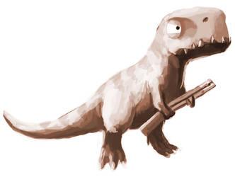 T-Rex with a Gun by GaryStorkamp