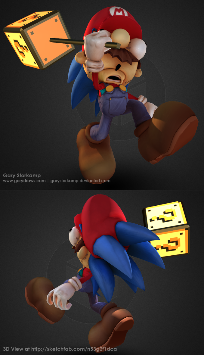 Mario the Hedgehog - Sketchfast7 by GaryStorkamp