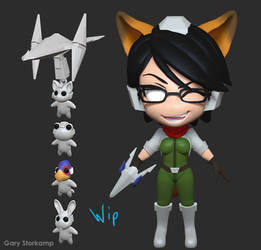 Chibi Fox Bayonetta - Progress 1 by GaryStorkamp