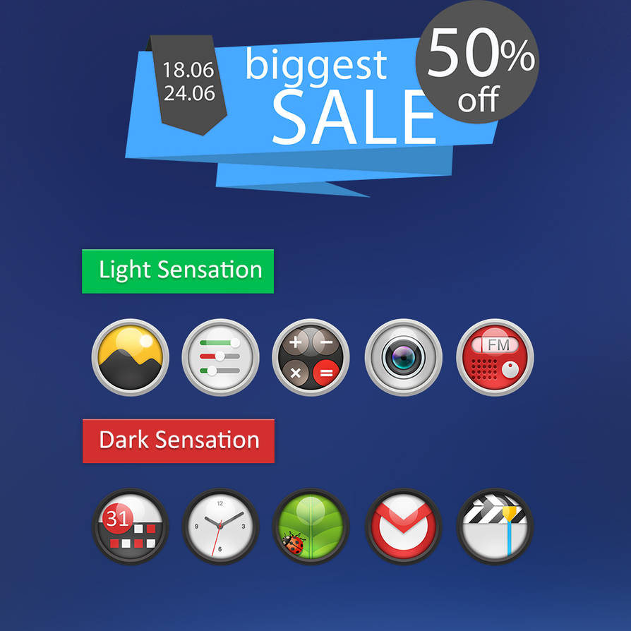 Light And Dark Senation Icon pack for Android by tari7