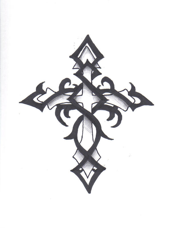 Cross Tattoos On Back For Men. tribal cross tattoos for men.