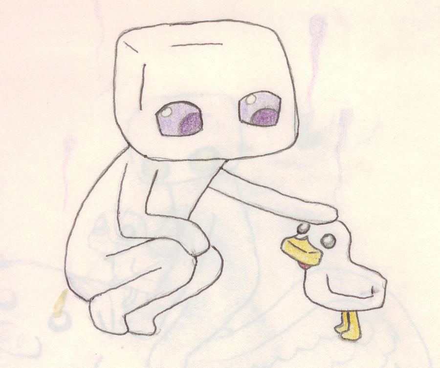 Enderman and chicken by Kobernicmann