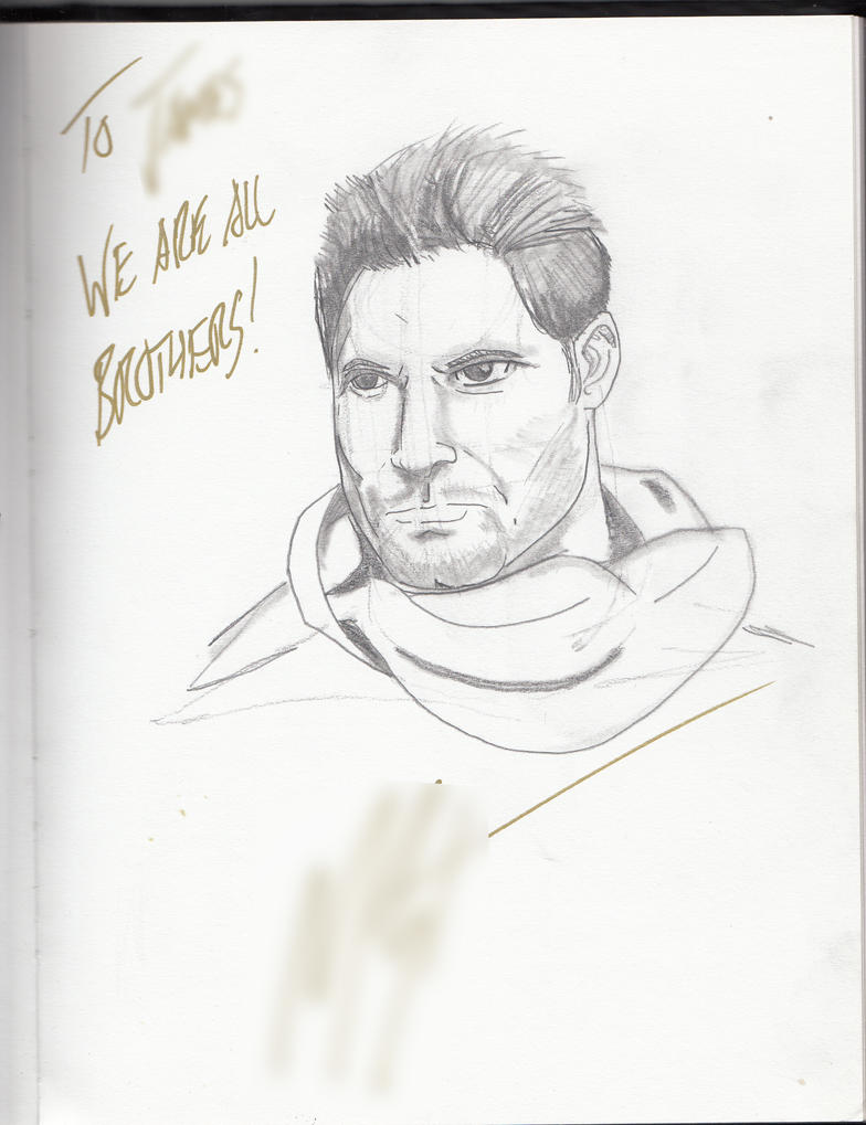 Sketch of Manu Bennett by GodKingNothing