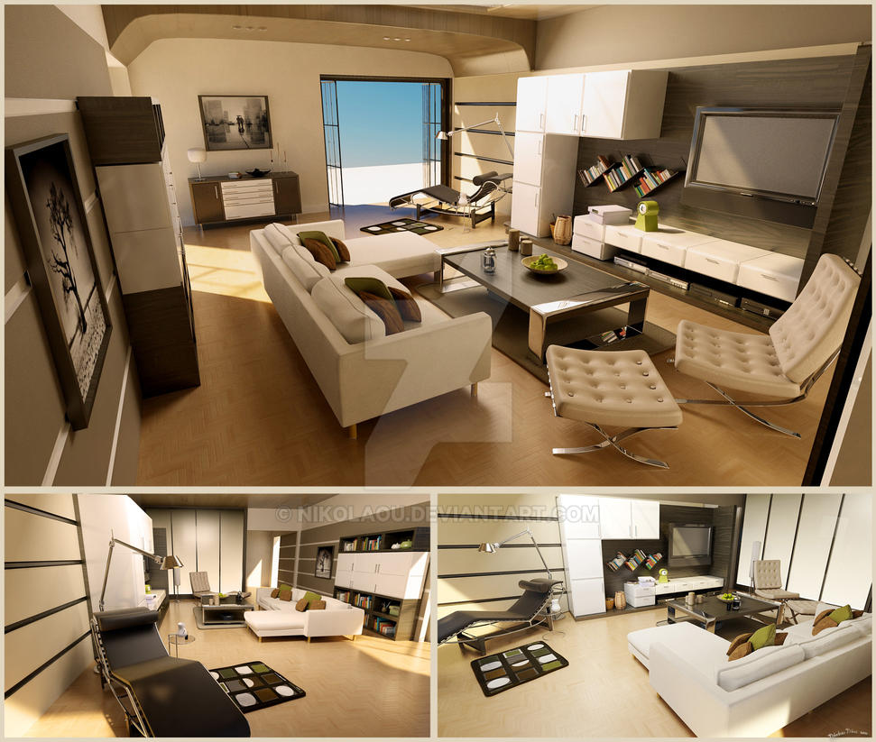 3D Living Room By Nikolaou On DeviantArt