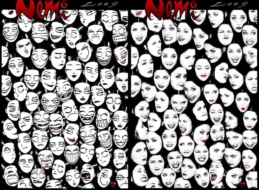 Grotesque Nemi faces by selfOblivion