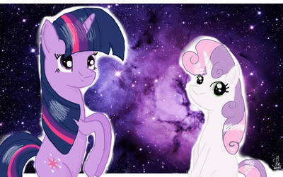 Twilight and Sweetie Belle in cosmos! by Dream-Trix
