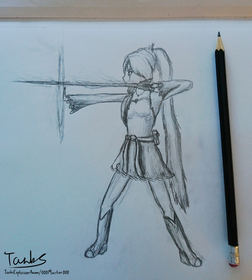 RWBY Weiss Battle stance by 000master000
