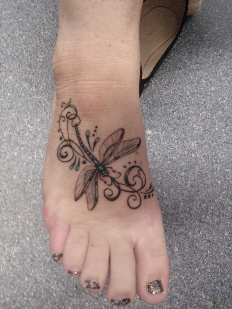 Women Foot Dragonfly
