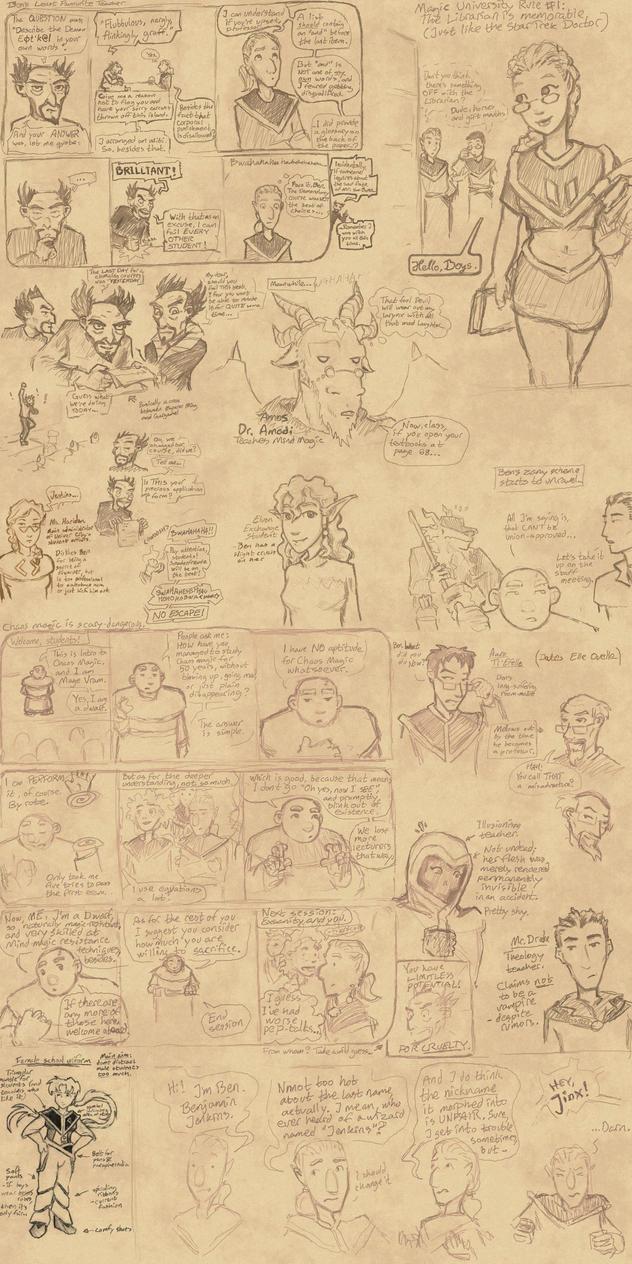 Info/sketchdump: Univer City Magical College by Elyandarin