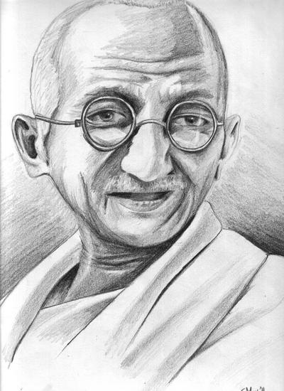 A Portrait of Mahatma Gandhi by Shadent-strife
