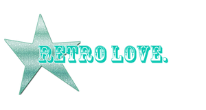 Retro love, png text.