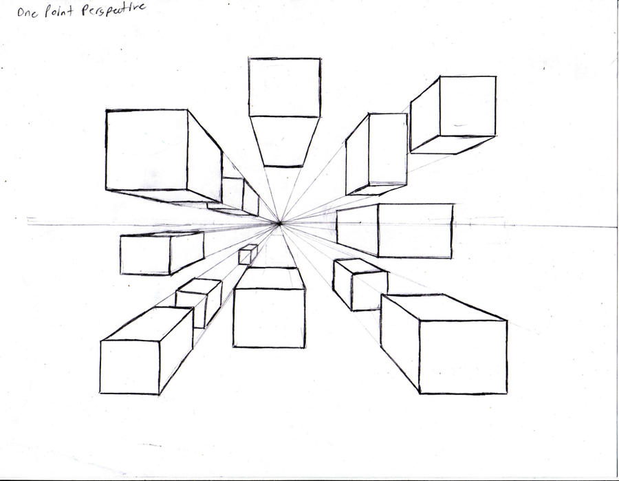 One Point Perspective Cubes By Pockyshark On Deviantart