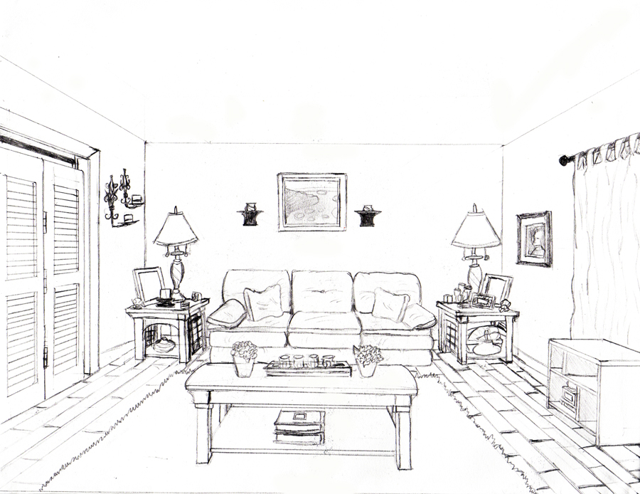 1 Point Perspective Living Room Drawing