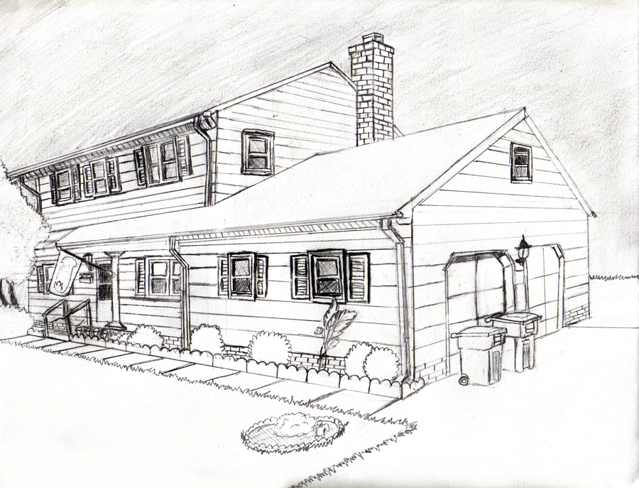 2 point perspective house by pockyshark on deviantart for Exterior 1 point perspective