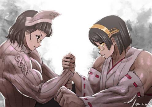 Roma wrestles arm with Kirishima.