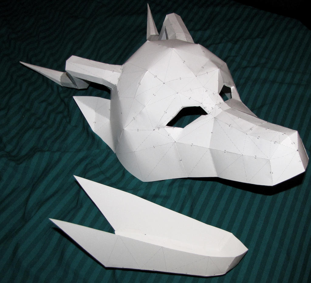 Paper dragon mask by chickentech on deviantart for Cardboard dragon template