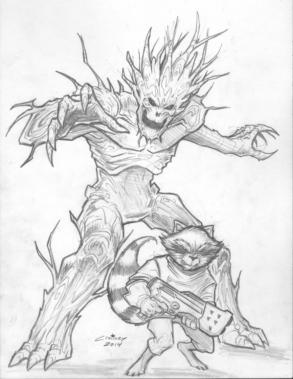 Rocket and Groot by c-crain on DeviantArt