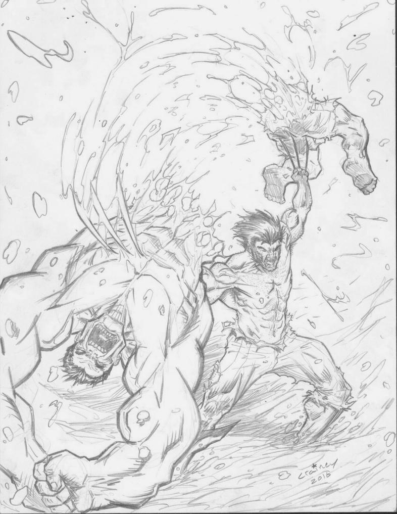 Wolverine Vs Hulk by c-crain