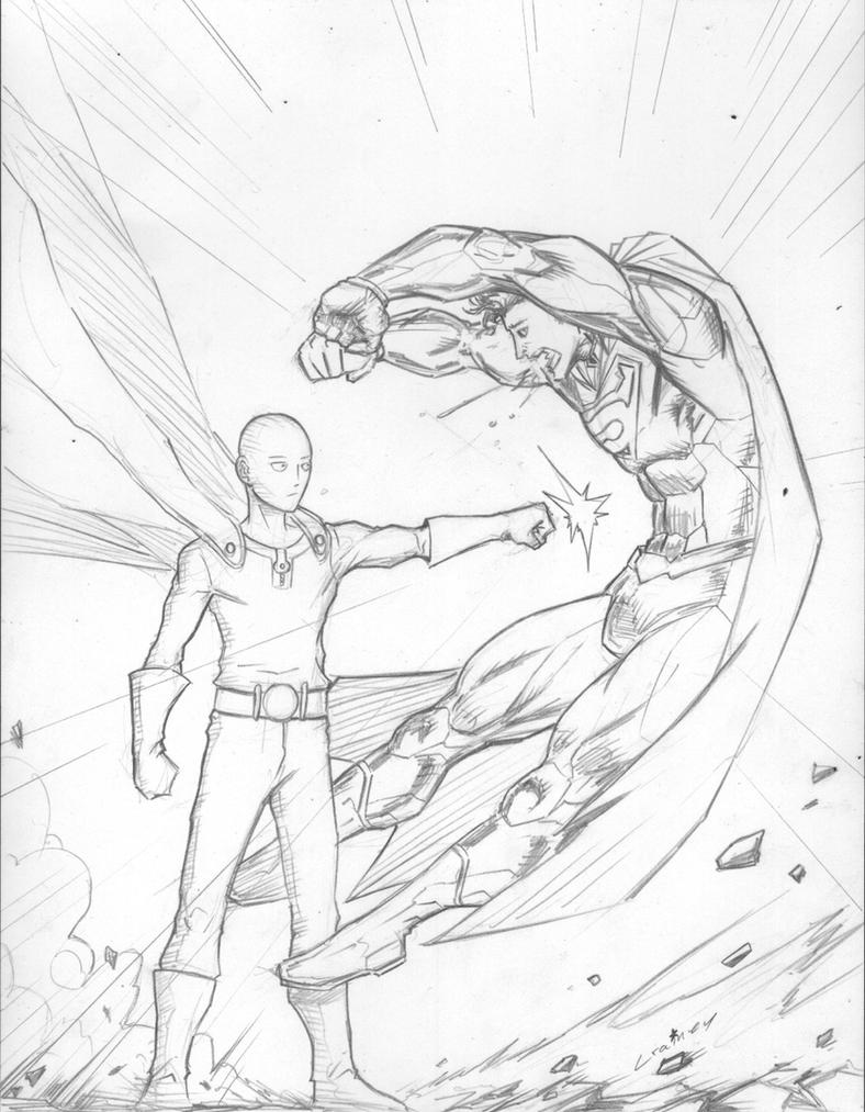 Saitama vs Superman by c-crain