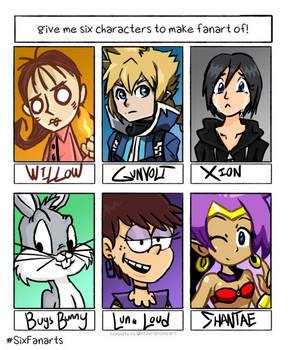 [Challenge] Six Characters, Six Fanarts