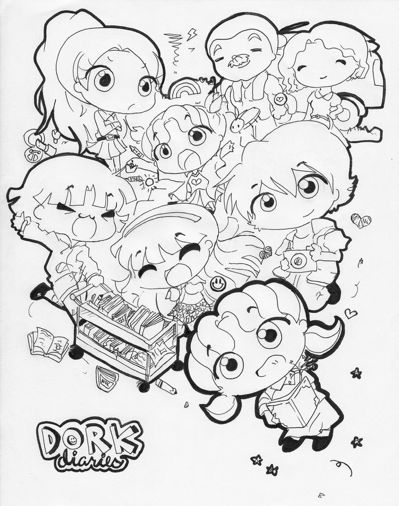 Dork diaries lineart by sweetchiyo001 on deviantart for Dork diaries coloring pages online