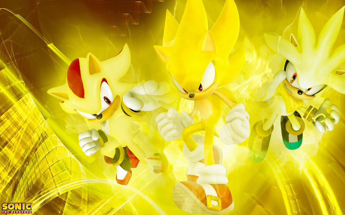 The Three Super Hedgehog's Wallpaper by SonicTheHedgehogBG