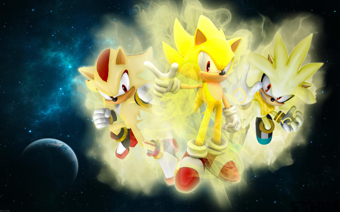 The Three Super Hedgehogs Wallpaper by SonicTheHedgehogBG