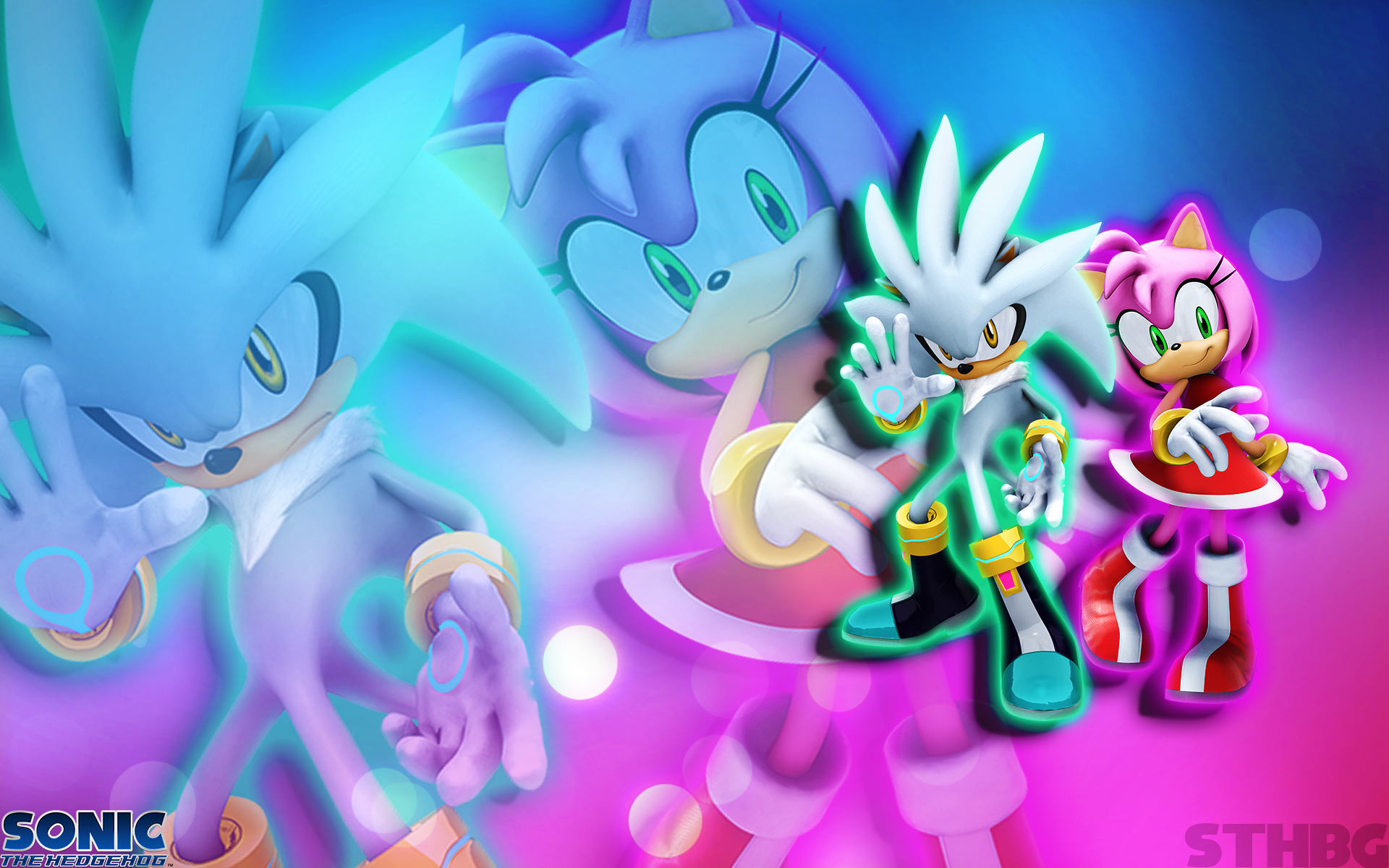 Silver And Amy The Hedgehog Wallpaper by SonicTheHedgehogBG