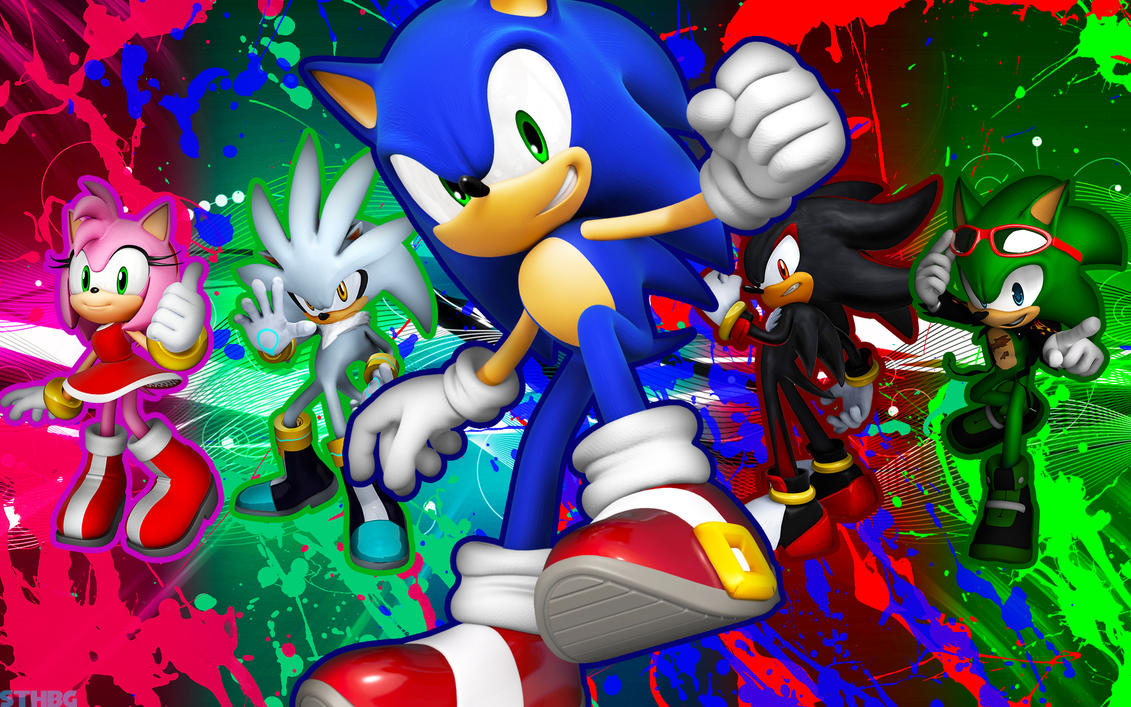 Sonic,Shadow,Silver,Scourge And Amy - Wallpaper by SonicTheHedgehogBG